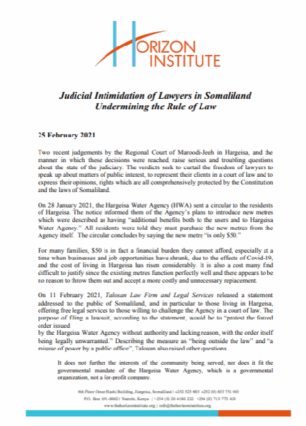 Horizon Institute Statement on Judicial Intimidation of Lawyers in Somaliland 25 February 2021